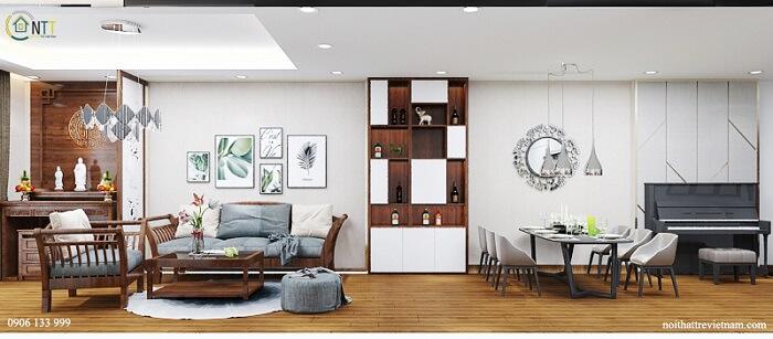 Thiết kế căn hộ chung cư 70m2 2 phòng ngủ