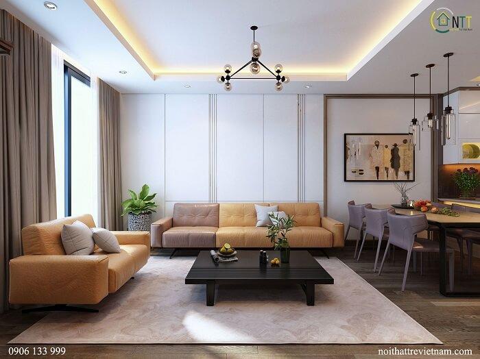 thiết kế nội thất chung cư mandarin garden 2 tân mai 90m2 2 phòng ngủ