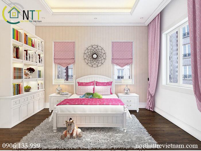 Thiết kế phòng ngủ cho 2 bé gái