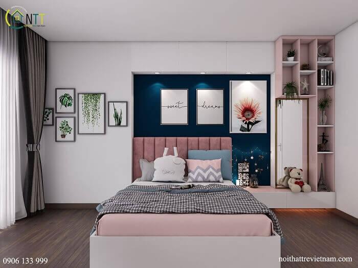 Phòng ngủ 1 giường đôi cho 2 bé gái hiện đại màu hồng