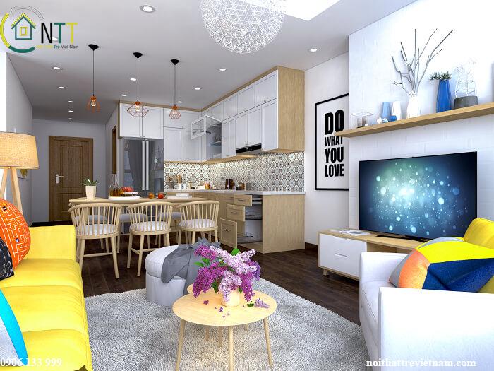 Thiết kế phòng khách và bếp chung cho nhà nhỏ