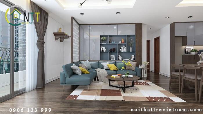 thiết kế phòng khách có bàn thờ