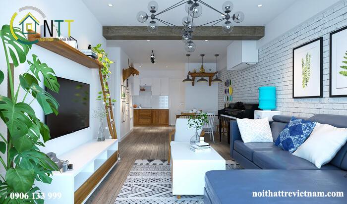Thiết kế nhà bếp và phòng khách chung