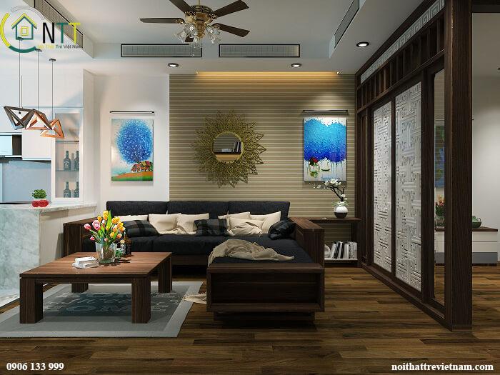Mẫu 4 Sofa gỗ chữ l