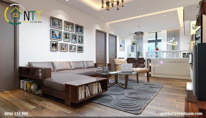 Mẫu 7 Sofa gỗ chữ l cho chung cư