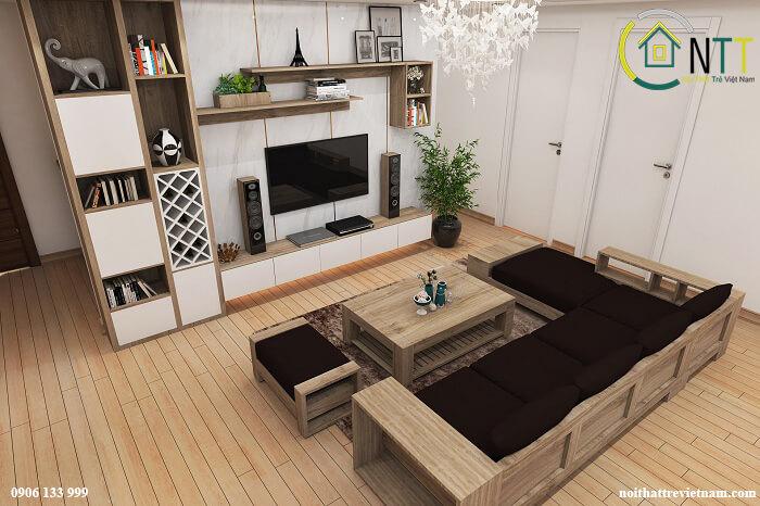 Mẫu 8 Ghế sofa gỗ chữ l
