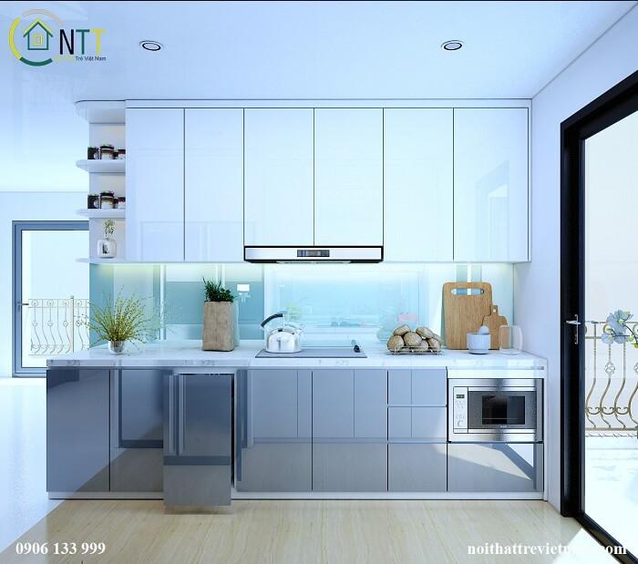 tủ bếp gỗ nhựa acrylic