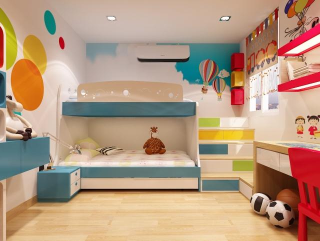 Trong phòng trẻ em, nội thất luôn được sắp xếp khoa học và sáng tạo