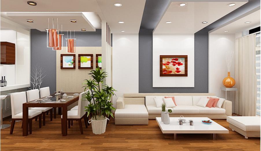 Màu sắc tươi sáng góp phần tạo cho phòng khách hiện đại hơn
