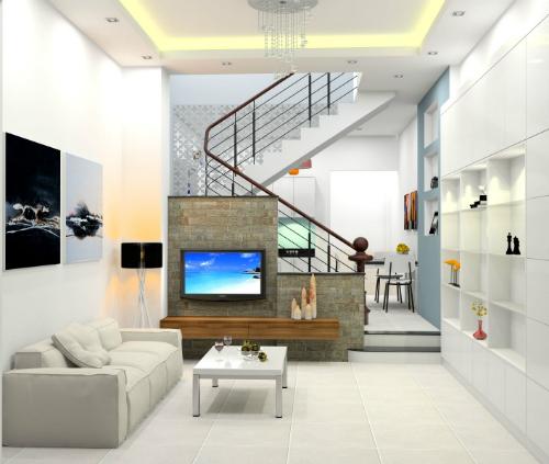 Phòng khách căn nhà 2 tầng 350 triệu