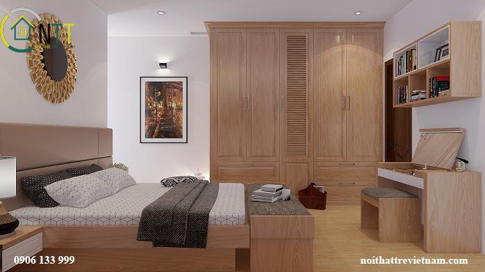 Phòng ngủ được thiết kế rộng rãi, sang trọng