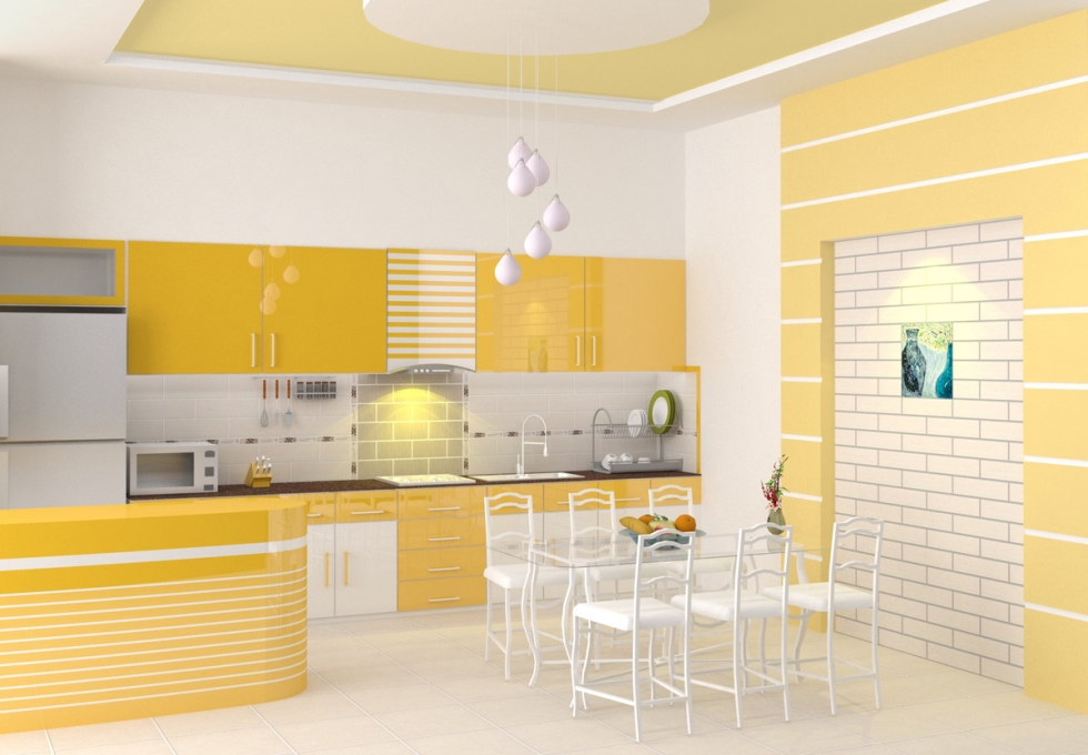 Nhà bếp tông vàng ấm áp ảnh 2