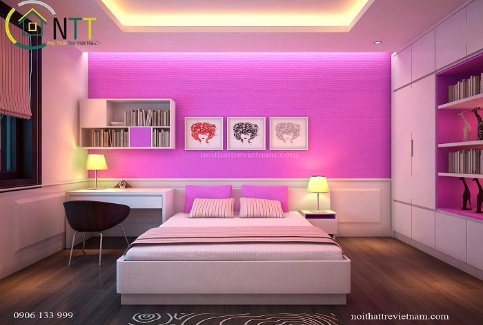 Phòng ngủ bé gái nhà anh Hiệp