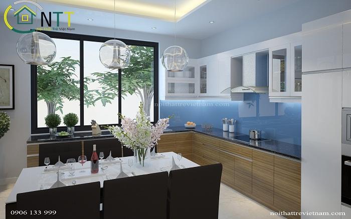 Sàn bếp được lát gạch tiện dụng lau chùi, vệ sinh