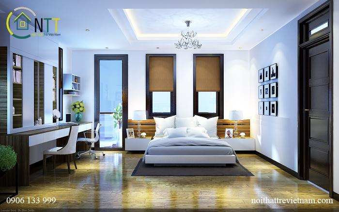 Sử dụng gam màu trắng chủ đạo, tô điểm bằng màu gỗ tự nhiên mang đến không gian tươi sáng
