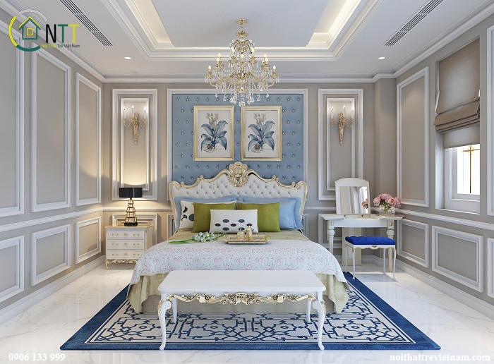 Phòng ngủ sang trọng theo phong cách tân cổ điển