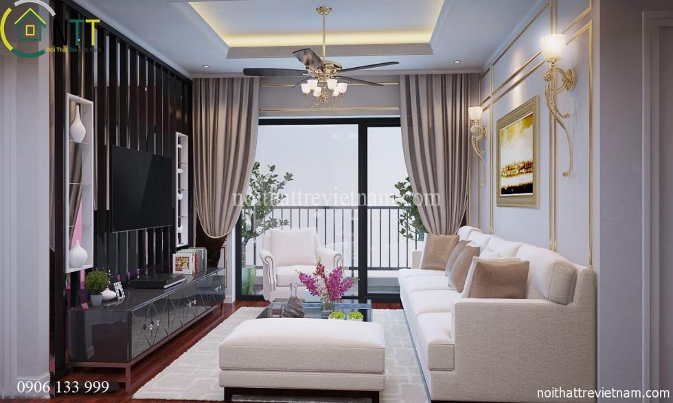 Mẫu thiết kế nội thất chung cư gồm 3 phòng ngủ của chị Hoa