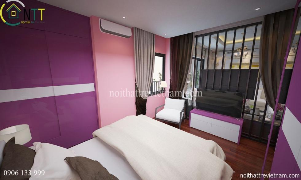 Thiết kế vách ngăn giữa phòng ngủ và phòng khách