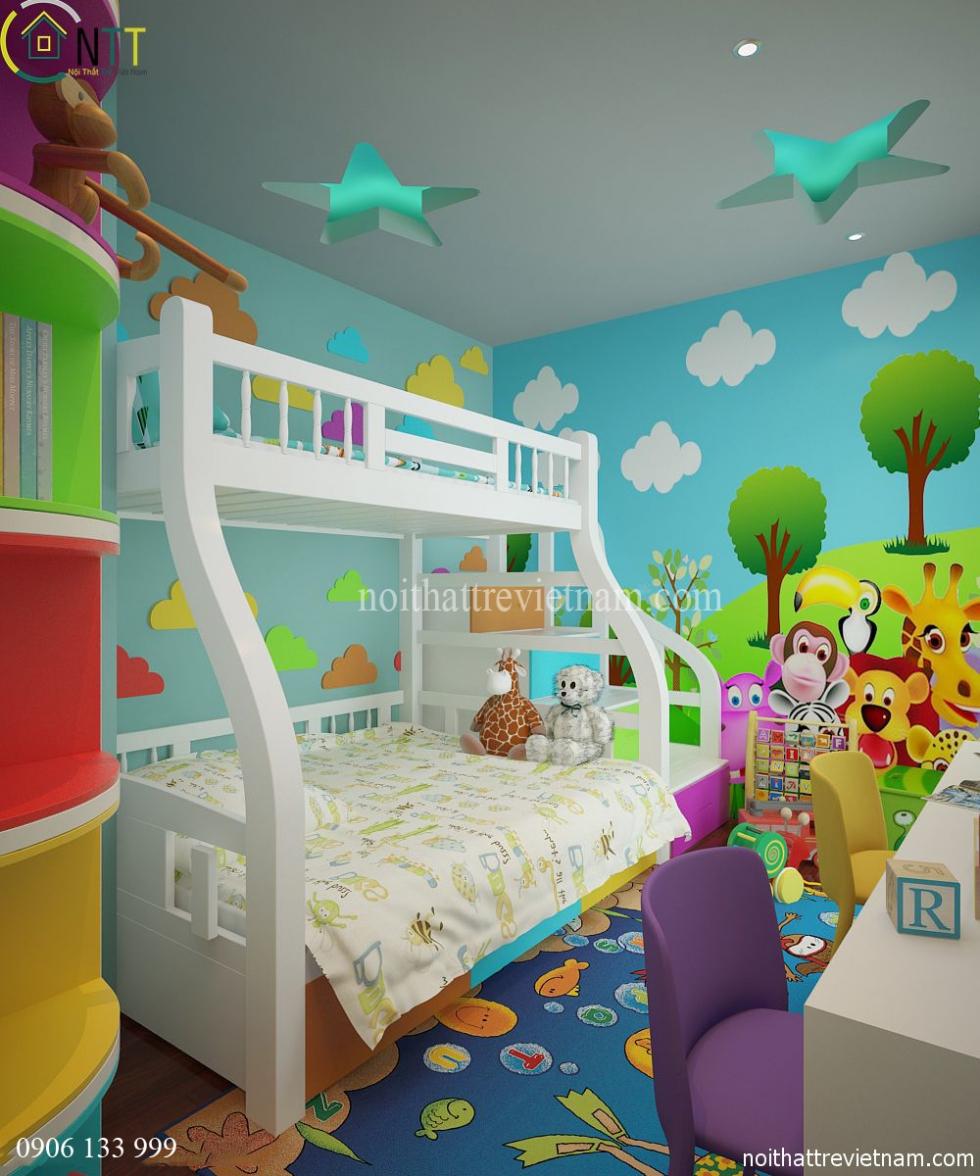 Nội thất phòng ngủ trẻ em nhà chị Hoa