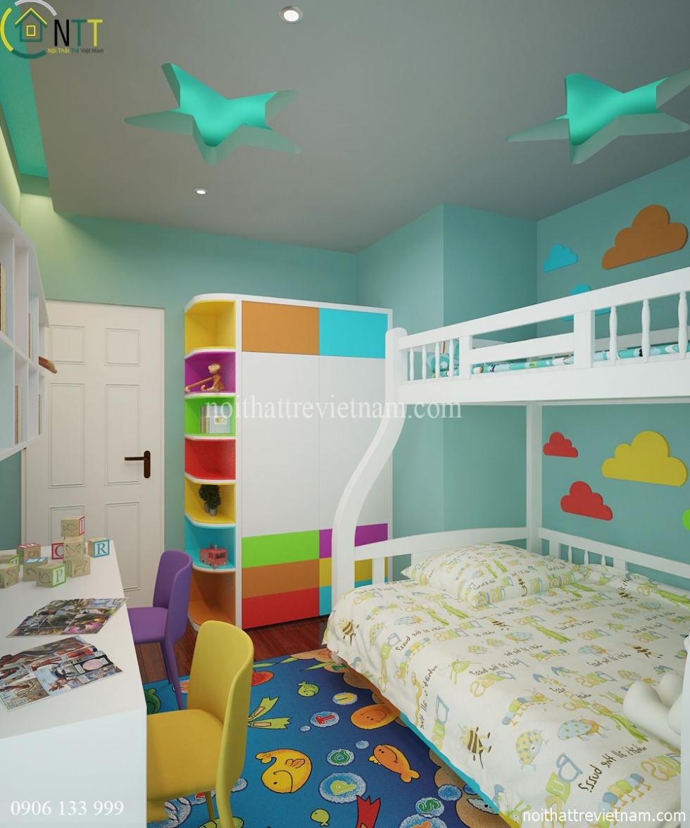 Sử dụng giường tầng giúp tiết kiệm không gian