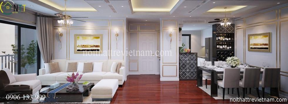 Không gian phòng khách liền bếp nhà chị Hoa