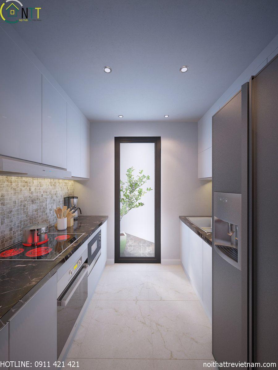 Thiết kế tủ bếp hai tầng