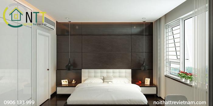 Mẫu thiết kế nội thất phòng ngủ master căn hộ mẫu