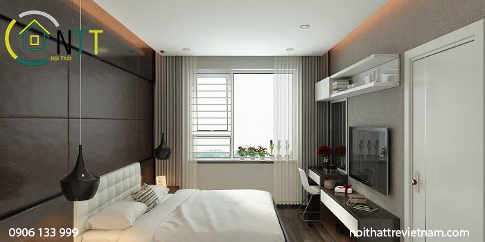  Đầu giường bọc nỉ tạo điểm nhấn cho không gian sang trọng hơn