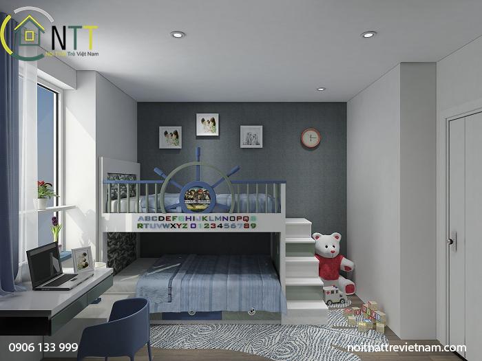 Phương án bố trí 01 - Nội thất phòng ngủ trẻ em căn hộ mẫu