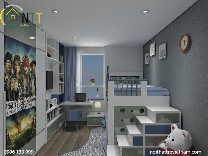 Sử dụng giường tầng, cầu thang kèm tủ chứa đồ tiết kiệm không gian