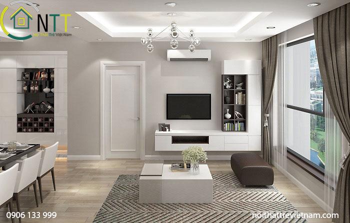 Thiết kế theo không gian mở, phòng khách liền bếp