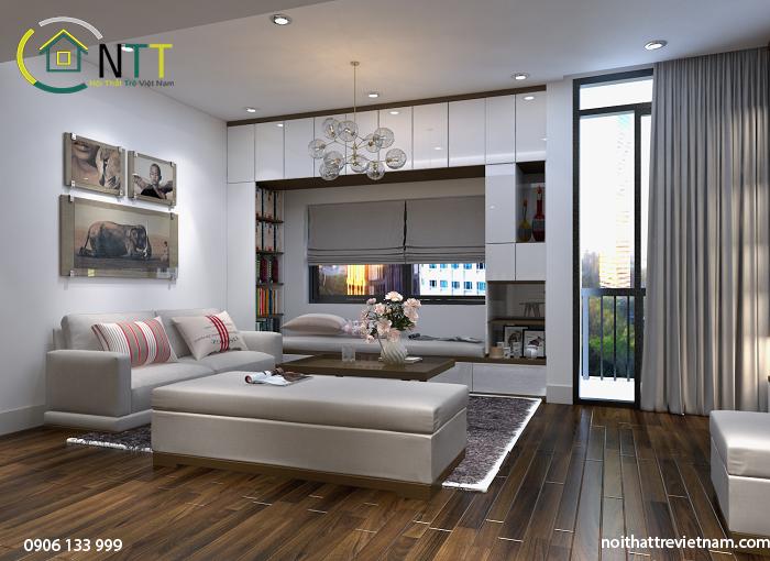 Công trình nội thất chung cư chị Thủy Tiên - Mipec Riverside