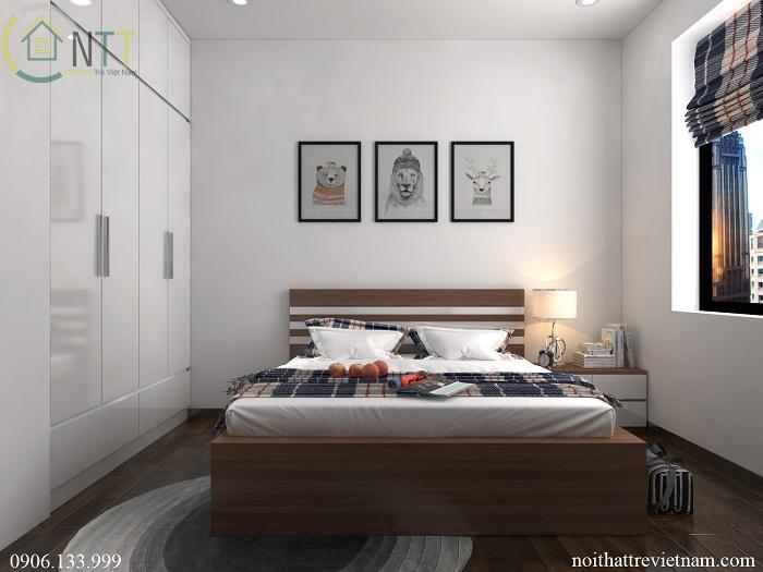  Đầu giường trang trí tạo điểm nhấn bằng những bức tranh ngộ nghĩnh