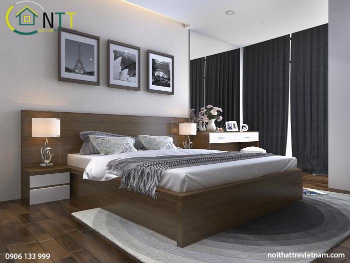 Không gian ấm cúng với gam màu trắng + màu gỗ tự nhiên