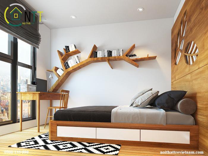 Giường ngủ tích hợp các ngăn chứa đồ tiện dụng – tận dụng tối đa không gian