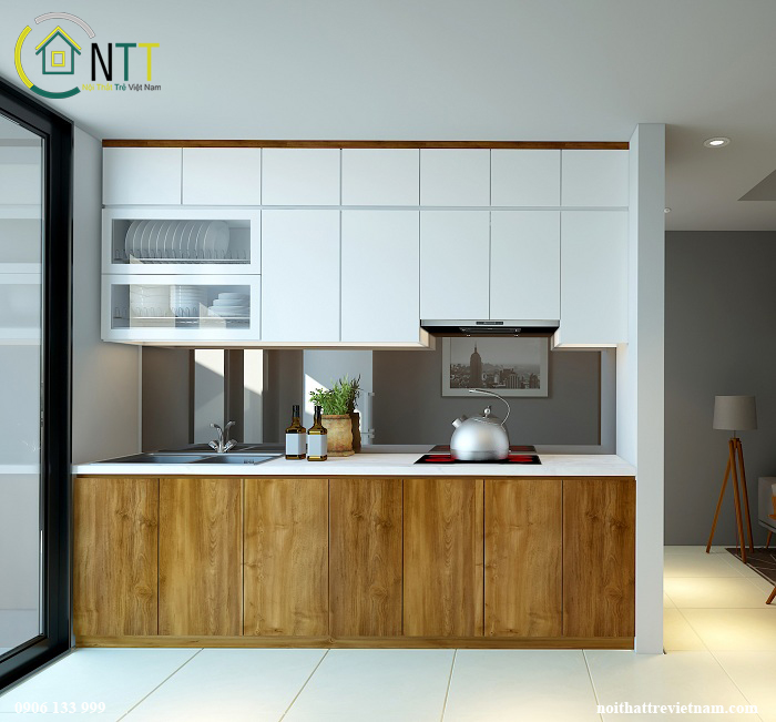 Thiết kế tủ bếp chữ I 2 tầng giúp tiết kiệm không gian