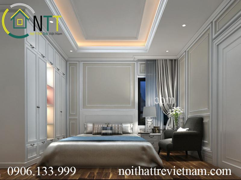  Phòng ngủ thứ hai cũng mang phong cách tân cổ điển sang trọng
