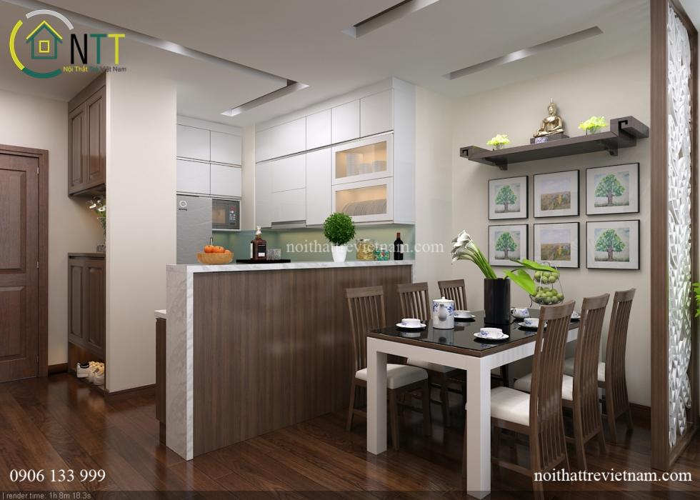  Phòng ăn và phòng bếp được ngăn cách bởi quầy bar nhỏ