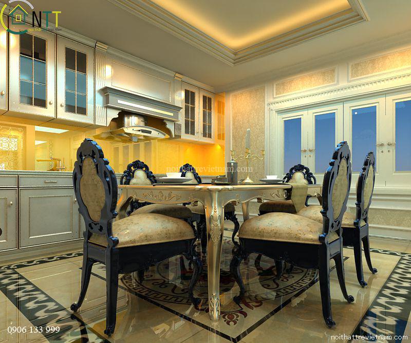 Mẫu thiế kế nội thất phòng ăn tân cổ điển
