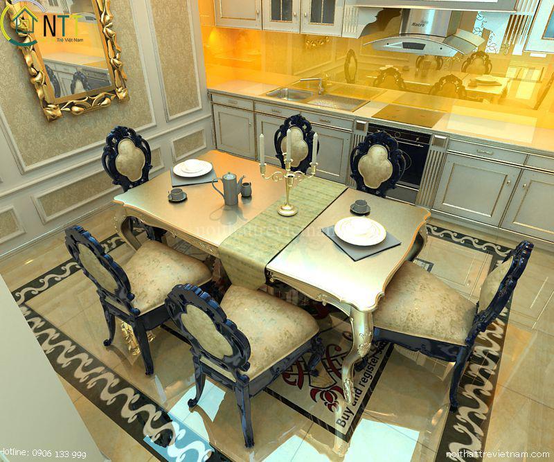 Bộ bàn ăn 6 ghế gỗ sồi tự nhiên cao cấp