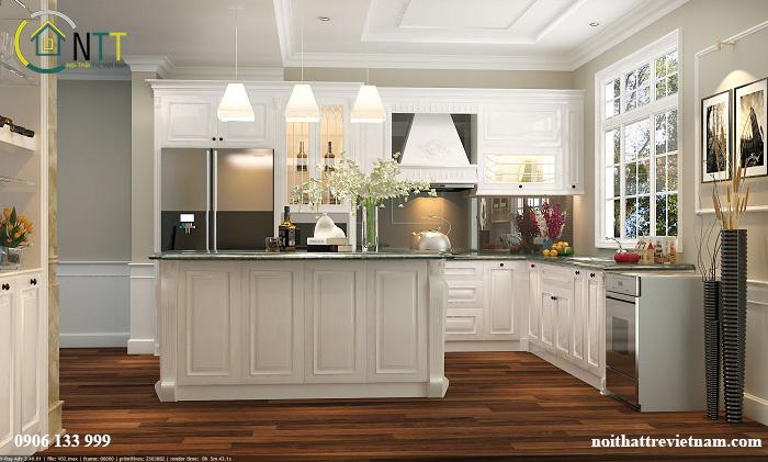  Nội thất phòng bếp nhà anh Hải Anh với gam màu trắng chủ đạo