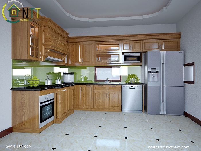Không gian phòng bếp trong mẫu thiết kế nội thất phòng bếp hiện đại nhà anh Linh