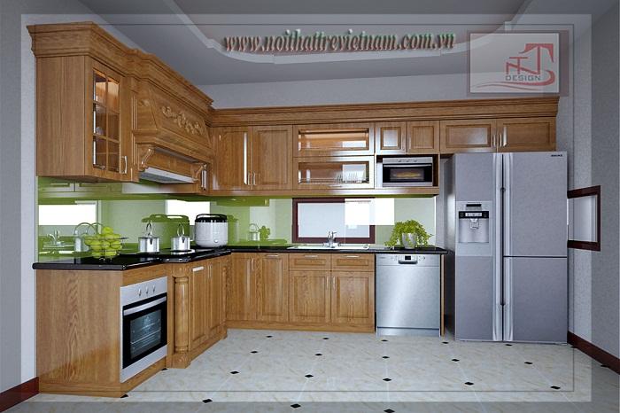 Nội thất phòng bếp sử dụng chất liệu gỗ tự nhiên