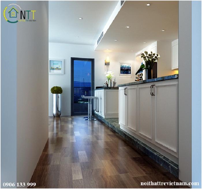 Phòng bếp thiết kế trần thạch cao giật cấp cùng hệ thống đèn downlight chiếu sáng