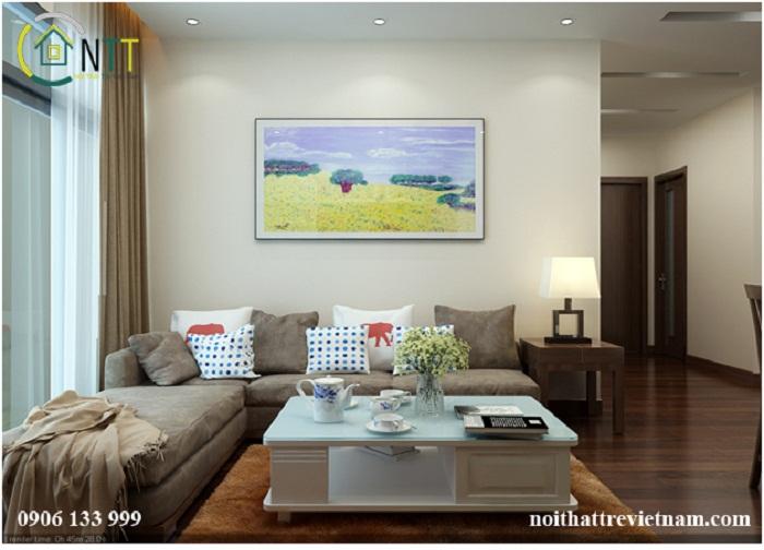 Không gian phòng khách trong mẫu thiết kế nội thất phòng khách liền bếp 15m2 nhà chung cư cô Hồng