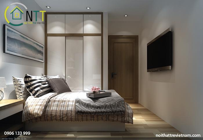 Phòng ngủ con trai anh Ngọc được thiết kế theo phong cách hiện đại