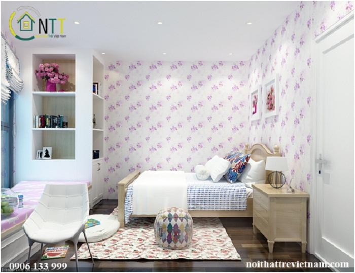 Mẫu thiết kế nội thất phòng ngủ cho bé trái trong căn hộ chung cư nhà chị Trâm ở Royal City