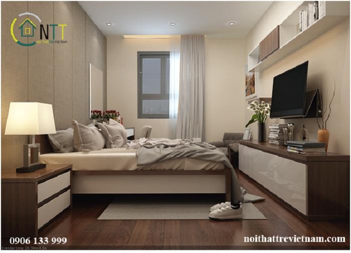 Góc nhìn theo hướng từ cửa đi vào của mẫu thiết kế nội thất phòng ngủ hiện đại căn phòng 15m2