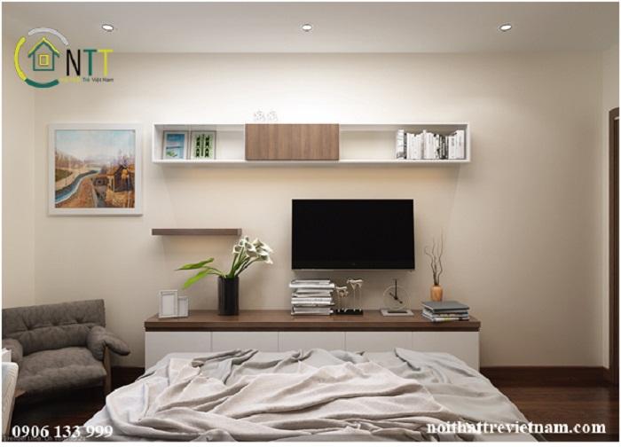 Kệ tivi được thiết kế tiện dụng và thẩm mỹ trong căn phòng ngủ