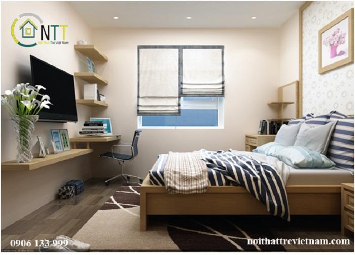 Không gian phòng ngủ trong mẫu thiết kế nội thất phòng ngủ 16m2 nhà chị Trang